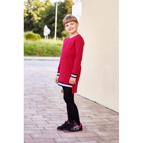 Bawełniana sukienka dla dziewczynki Karola bordowa, ze ściągaczami, wygodne ubranko dla dziewczynki, e-zygzak.pl