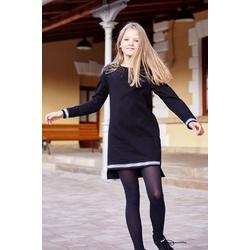 Bawełniana sukienka dla dziewczynki Karola czarna, ze ściągaczami, wygodne ubranko dla dziewczynki, e-zygzak.pl