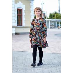 Czarna sukienka w kolorowe kwiaty Mildred, wygodne ubranka dla dziewczynek, sklep e-zygzak.pl