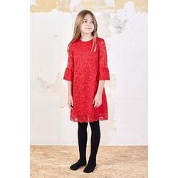 Koronkowa sukienka dla dziewczynki Harriet Czerwona, wizytowe sukienki dziewczęce, sklep e-zygzak.pl