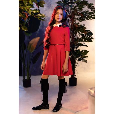 Czerwona sukienka dziewczęca z dopinanym kołnierzykiem 0AW-04, wizytowe ubranka dla dziewczynek, sklep e-zygzak.pl