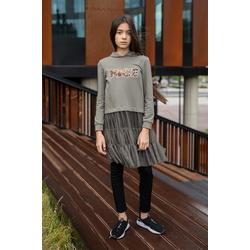 Dzianinowa bluza z tiulowym dołem w kolorze oliwkowym 0AW-27A, wygodne ubranka dla dziewczynek, e-zygzak.pl