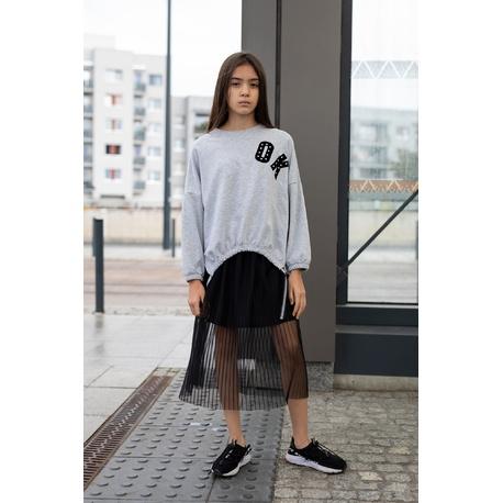 Dzianinowa bluza OK w kolorze szarym melanżowym 0AW-29C, wygodne ubranka dla dziewczynek, e-zygzak.pl