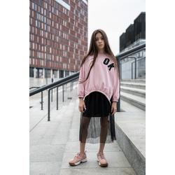 Dzianinowa bluza OK w kolorze różowym 0AW-29B, wygodne ubranka dla dziewczynek, e-zygzak.pl