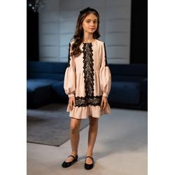 Sukienka dla dziewczynki z dekoracyjną koronką 0AW-05A, eleganckie ubranka dla dziewczynek, e-zygzak.pl