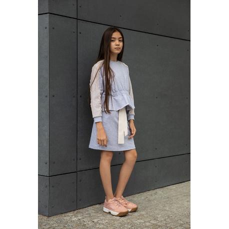 Dzianinowa bluza z koronką na rękawach 0AW-34A, lifestyle, ubranka dla dziewczynek, e-zygzak.pl