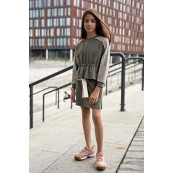 Dzianinowa bluza z koronką na rękawach 0AW-34B, lifestyle, ubranka dla dziewczynek, e-zygzak.pl