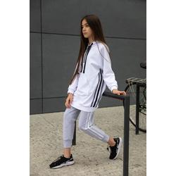 Szare dzianinowe spodnie z lampasami 0AW-37C, streetwear, wygodne ubranaka dla dzieci, e-zygzak.pl