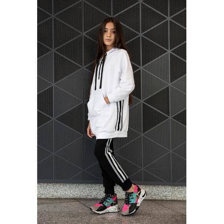 Czarne dzianinowe spodnie z lampasami 0AW-37B, streetwear, wygodne ubranaka dla dzieci, e-zygzak.pl