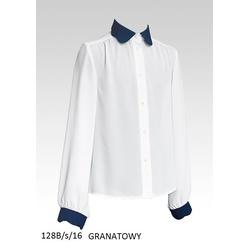 Biała bluzka z granatowym kołnierzykiem SLY