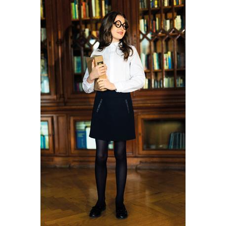 Czarna spódnica dziewczęca szkolna, z kieszonkami, z regulacją w pasie, e-zygzak.pl