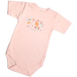 Body niemowlęce z krótkim rękawkiem różowe