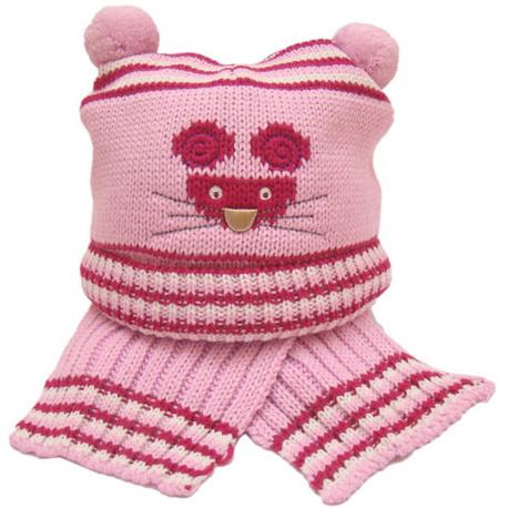 Czapka z szalikiem Myszka różowa