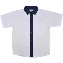 Biała koszula z granatowym kołnierzykiem